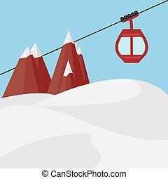 Ski Lift Gondola Snow Mountains - Vector Illustration
