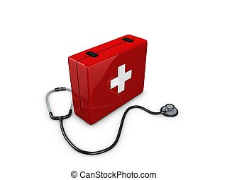 First aid kit - First Aid kit box with stethoscope isolated...