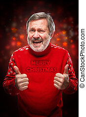 Elderly man showing ok sigh on a red background - Elderly...