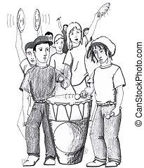 Rhythms Drum Dancing People