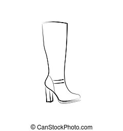 Female high-heeled boots. Black pattern on a white...