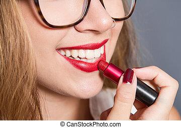 放, 女孩, 唇膏, 嘴唇, 微笑