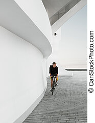 Man on fixed gear bicycle