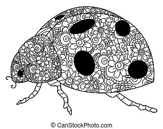 Ladybird coloring vector for adults - Coccinellidae coloring...