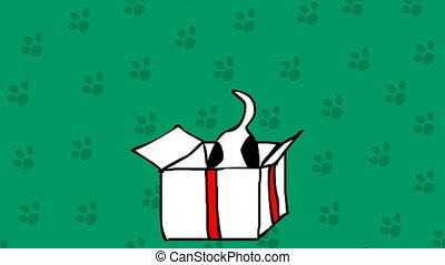 Cute dog in a box. Bithday present hand drawn cartoon...