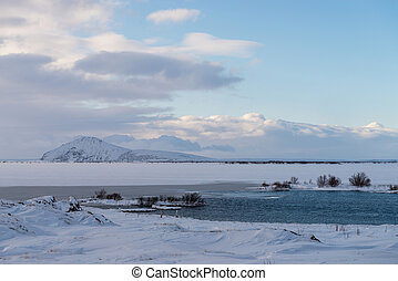 Icelandic winter landscape among Myvatn lake - Photo of the...