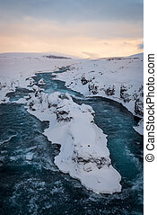 River near Godafoss waterfall in Iceland - Photo of a river...