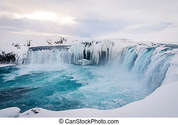 Godafoss waterfall in Iceland during winter - Photo of the...