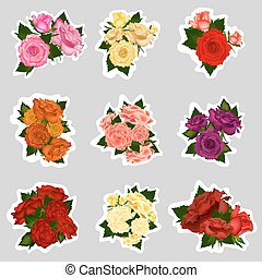 Collection of vector sticker high detailed realistic rose flowers on white background