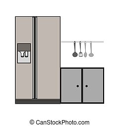 gray scale silhouette fridge and cabinet vector illustration