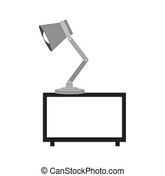 gray scale decorative shelf with lamp vector illustration