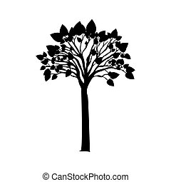 black silhouette tree with leafy branches