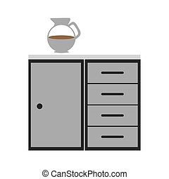 gray scale silhouette with kitchen shelf and drawers vector...