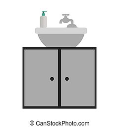 gray scale silhouette washstand with cabinet of two doors...