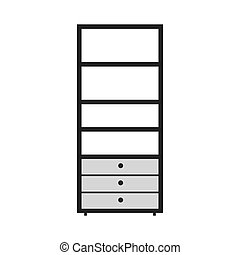 gray scale silhouette with kitchen shelf vector illustration