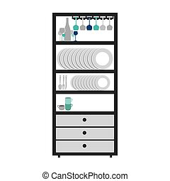gray scale small cupboard with items of kitchen vector...