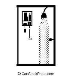 monochrome bathroom with the shower open