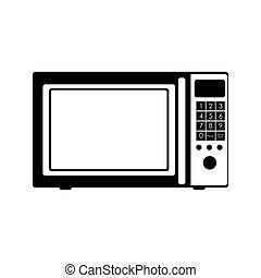 monochrome silhouette with oven microwave