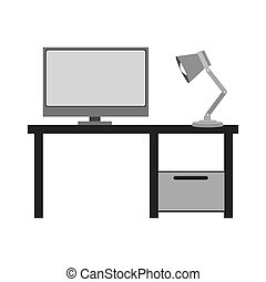 gray scale silhouette with home office vector illustration
