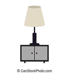 gray scale nightstand with lamp vector illustration