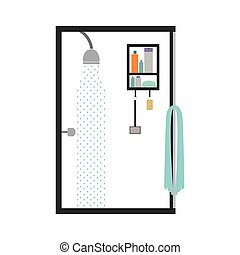 silhouette color bathroom with the shower open
