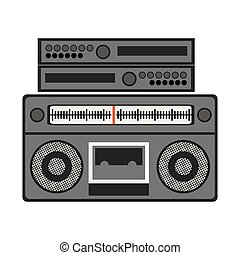 silhouette gray scale with stero sound amplifier vector...