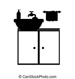 monochrome silhouette washstand with small furniture vector...