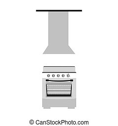 gray scale silhouette stove with with extractor hood vector...