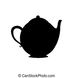 monochrome silhouette with tea kettle vector illustration