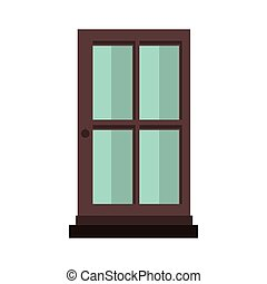 colorful silhouette with door of wood and glass