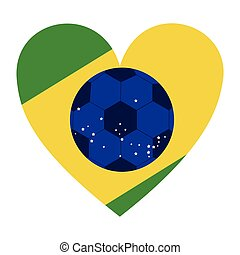 colorful silhouette with brazil heart