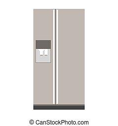 gray scale fridge wiht water dispenser vector illustration