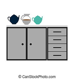 gray scale silhouette with kitchen shelf and drawers and tea...