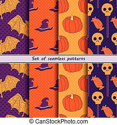 collection of halloween seamless patterns, orange with...