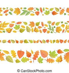 Four seamless borders made from cute autumn leaves on white