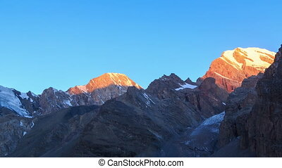 Morning light in the mountains. Time Lapse, Pamir,...