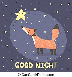 Good night card with cute fox and star