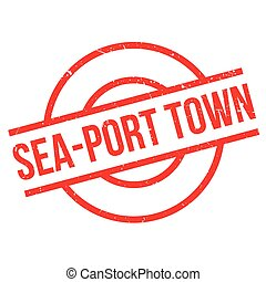 Sea-port town rubber stamp
