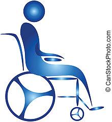 human on a wheel chair