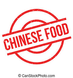 Chinese Food rubber stamp. Grunge design with dust...