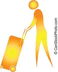 human pushing luggage trolley