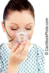 beautiful patient with a mask - beautiful patient breathing...