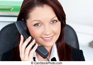 businesswoman on phone smiling