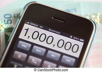 Online business, good money - Showing iPhone calculator with...
