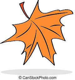 Orange maple leaf with grey shadow
