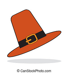 Pilgrim hat with grey shadow. Autumnal icon. Vector...