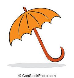 Orange umbrella with grey shadow. Autumnal icon. Vector...