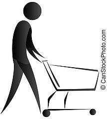 human pushing a wheel cart