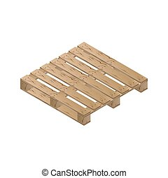 Wooden pallet isometric, vector illustration. - Realistic...