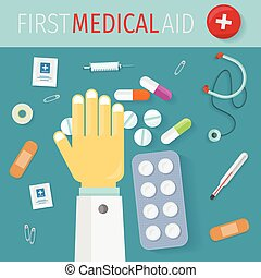 First Medical Aid Banner. Hospital Equipment